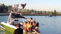 photo of Ed Brenner wakeboarding at Wake Island Watersports
