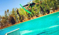 photo of Tanar Pigrenet wakeboarding at Wake Island Watersports